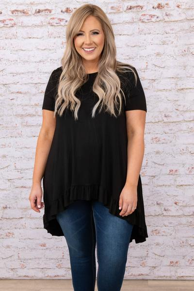 top, casual, black, solid, short sleeve