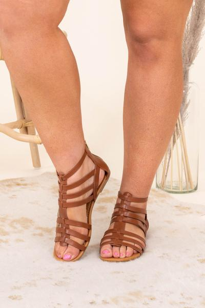 shoes, sandals, brown, solid, tan, open toed