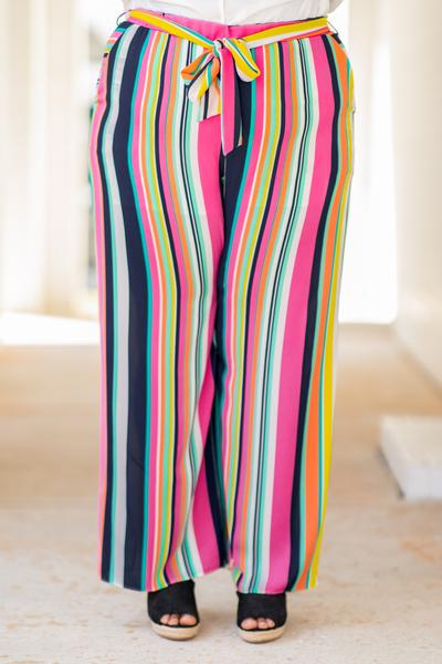 pants, long, loose, stripe, colorful, belted, elastic waistband,, spring, summer