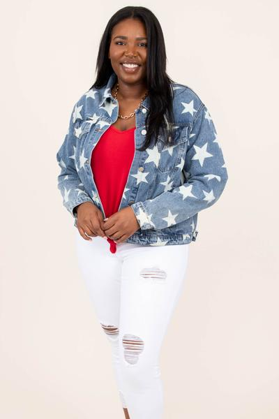 top, jacket, denim, patter, stars, blue