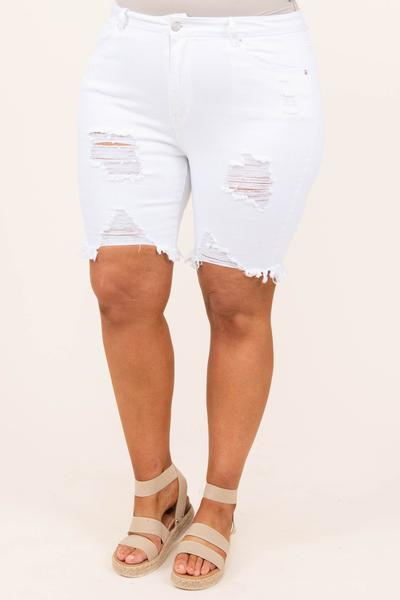 bottoms, shorts, white, distressed