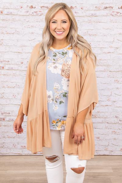 top, kimono, natural, flowy, mid length sleeve