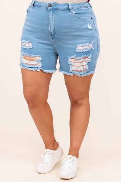 bottoms, shorts, blue, distressed, light wash