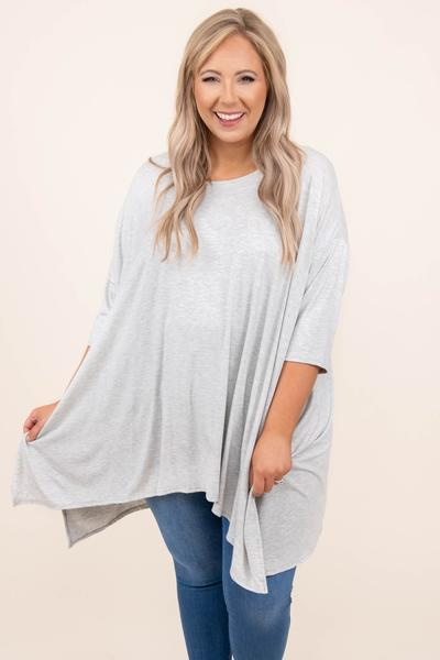 top, tunic, gray, grey, heather pearl, solid, short