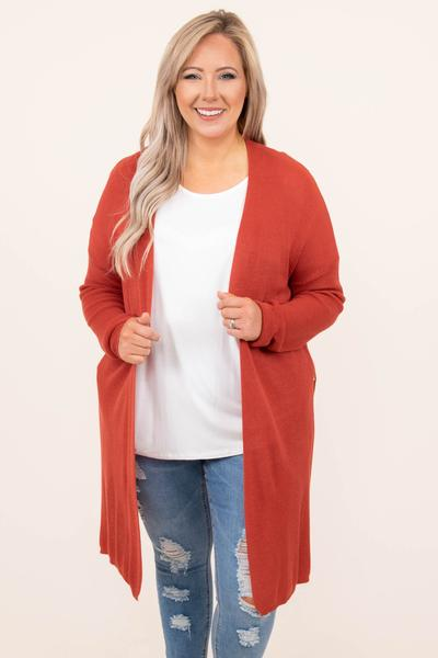 top, cardigan, long sleeve, long, red, coral