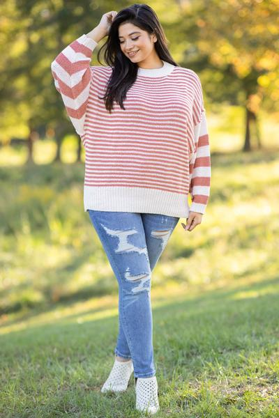 top, sweater, pink, white, coral, striped, bubble sleeve, winter, warm, casual, comfy, flattering