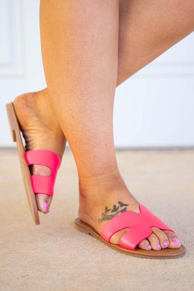 shoes, sandals, pink, solid, neon