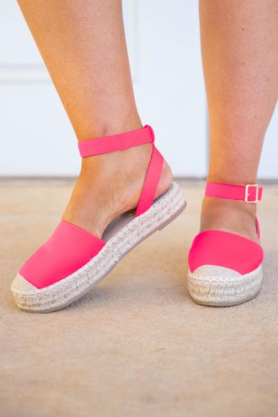 shoes, espadrilles, pink, neon pink, solid