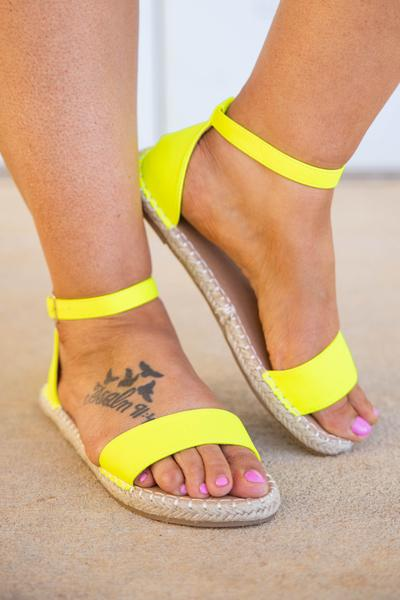 shoes, sandals, neon, yellow, solid