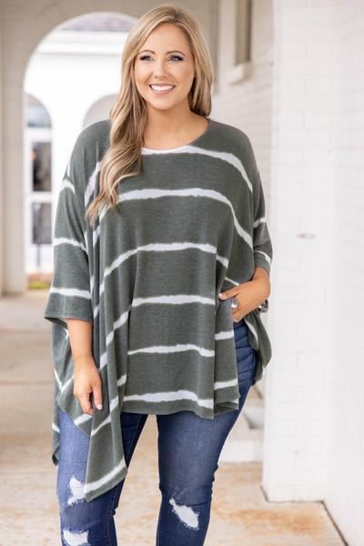 top, tunic, green, tie dye, dolman sleeve, half sleeve, striped, white, green , olive, flowy, comfy