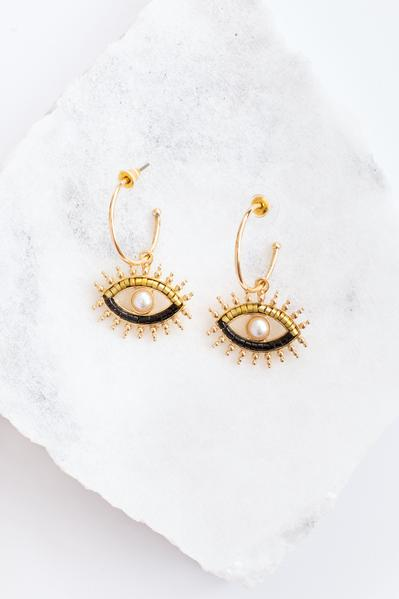 With New Eyes Earrings, Gold-Black
