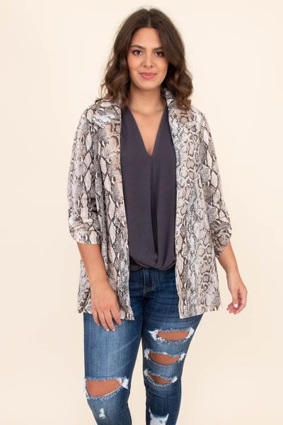 jacket, snake skin, blazer, three quarter sleeve