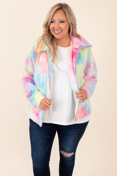 top, coat, jacket, fuzzy, zip, pink, blue, green, yellow, red, orange, multi, tie dye, long sleeve, zip