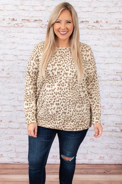 top, lounge, brown, white, leopard, long sleeve, comfy, casual