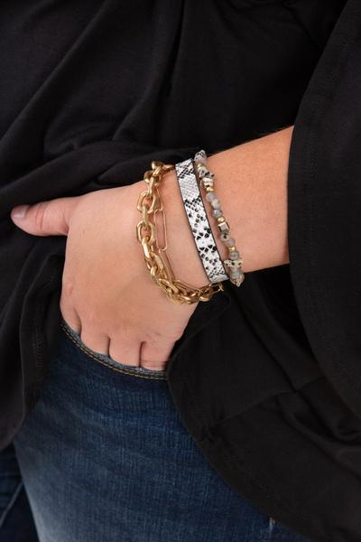 Accessories, bracelet, stretch, gray, beaded, gold, chain, black, snakeskin