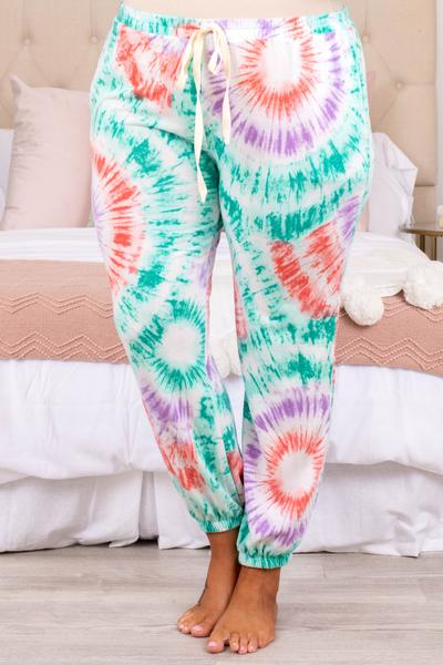 pants, lounge wear pants, joggers, cinched ankles, tie dye, drawstring waist, loose, comfy, mint, white, purple, red