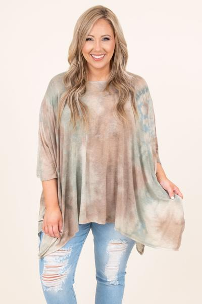 top, tunic, flowy, mid sleeve, long, comfy, cozy, fall, mauve mix, blue, brown, white, cream