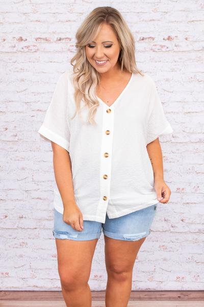 shirt, blouse, short sleeve, v neck, off white, button front loose, comfy