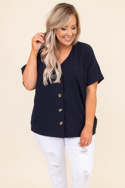 shirt, short sleeve, button up, v neck, blouse, dark navy, loose, comfy