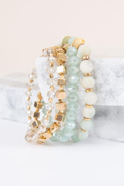 accessories, bracelet, cuff, green, crystal, stone, layered
