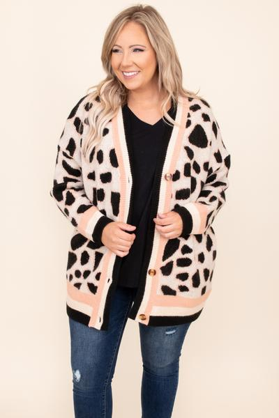 top, cardigan, brown, leopard, long sleeve, layer, warm, comfy, winter, fall