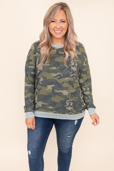 top, lounge top, green, gray, olive, camo, camoflauge, long sleeve