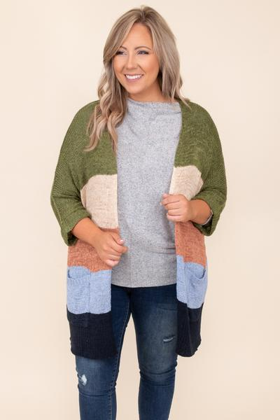 Crushing It Cardigan, Sage Multi