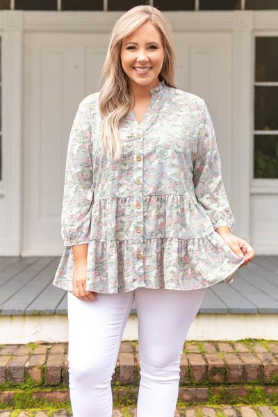 top, tunic, blue, floral. bubble sleeve, flowy, button up