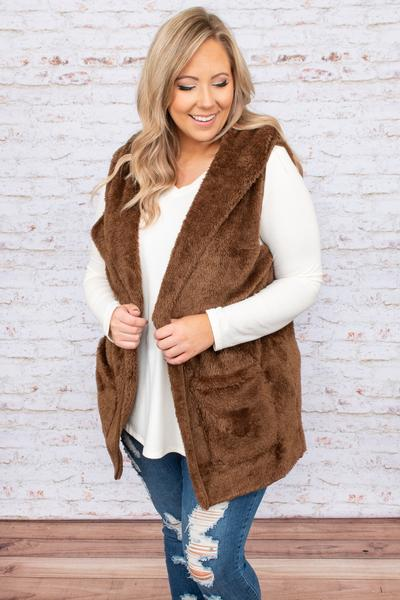 top, vest, brown, solid, sleeveless, warm, comfy, casual, winter, fuzzy, hoodie