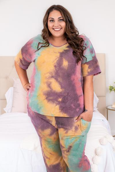 shirt, top, loose, comfy, short sleeve, lounge wear, lounge top, tie dye, pink, magenta, green, yellow
