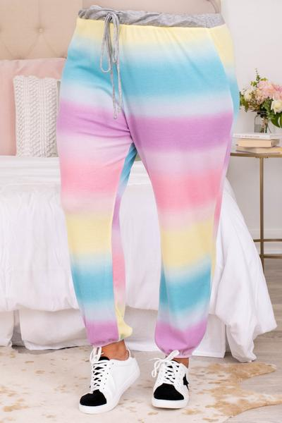 pants, bottoms, joggers, cinched ankle, loose, comfy, lounge wear, lounge pants, long, tie dye, striped, colorful, multi, yellow, blue, white, purple, pink