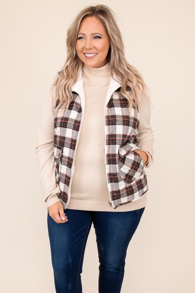 top, vest, sand, brown, plaid, sleeveless, sherpa, soft, inside, pockets