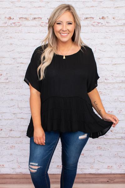 flowy, tiered ruffles, short sleeve, round neck, top, figure flattering, neutral, black, tunic