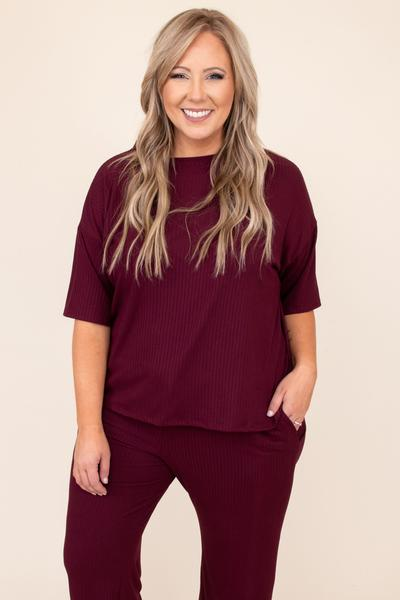 top, lounge top, red, solid, short sleeve, comfy, lounge, burgundy, ribbed