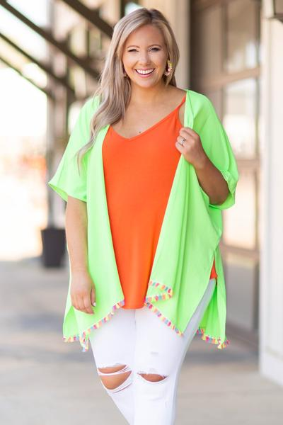 top, cardigan, lime, tassle