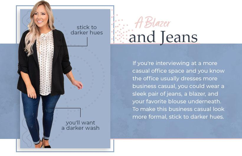 a blazer and jeans graphic