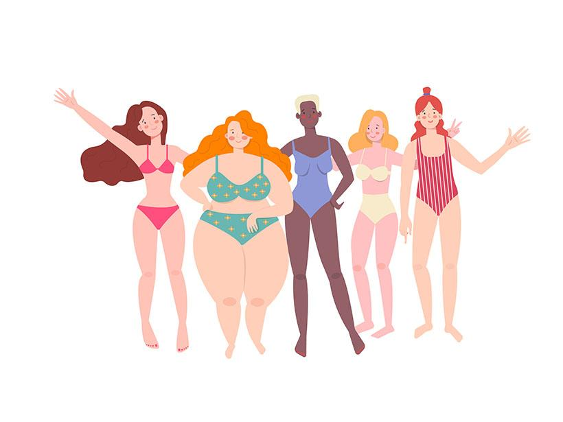 illustration women different body types
