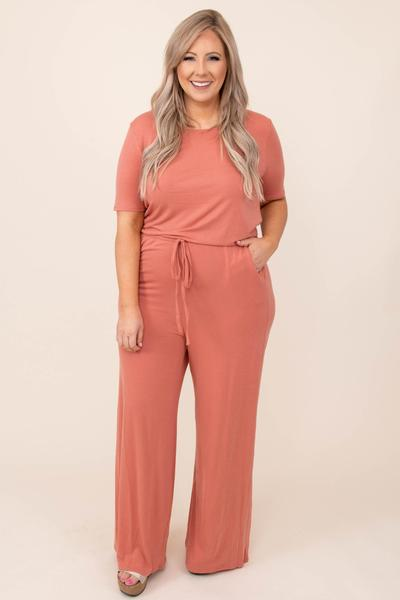 dress, jumpsuit, pink, solid, ash rose, short sleeve