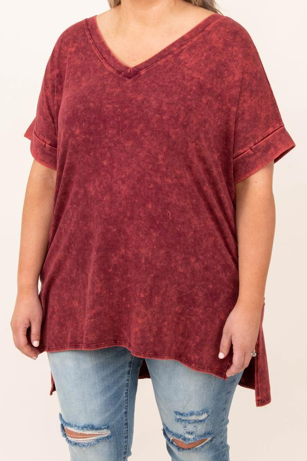 top, basic, red, mineral wash, short sleeve, cabernet