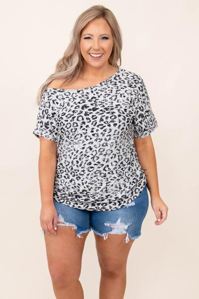 top, casual, gray, leopard, short sleeve