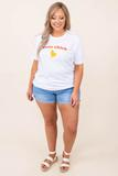 top, tee, white, graphic, short sleeve, cute chick