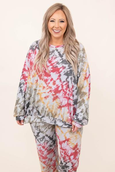 top, casual, gray, tie dye, long sleeve, charcoal, grey