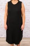 dress, casual, black, solid, sleeveless