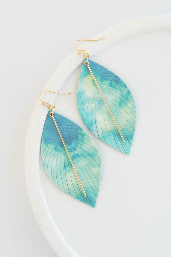 accessory, earrings, dangle, blue, feather, gold