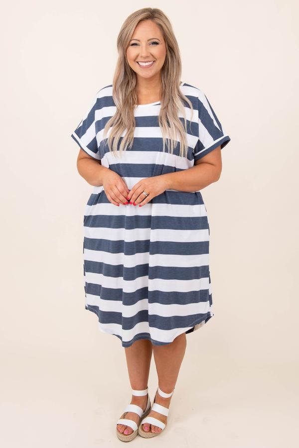 dress, casual, blue, navy, striped, short sleeve