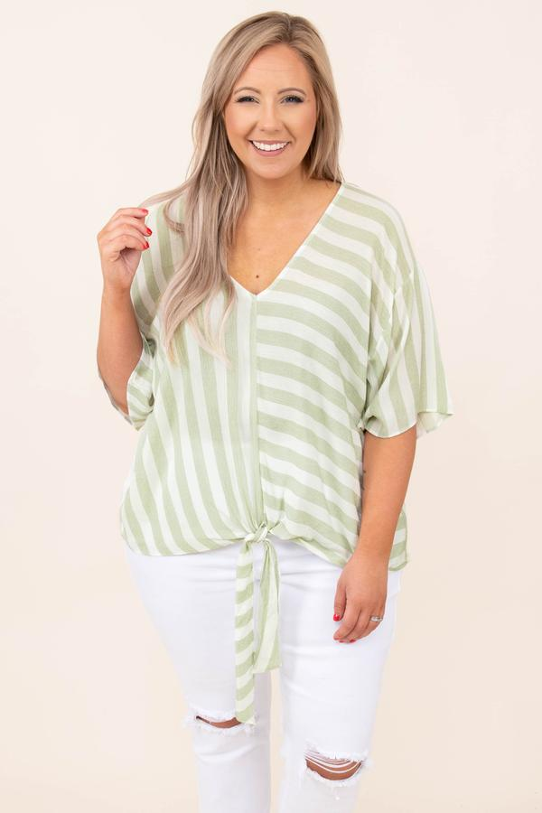 top, casual, green, olive, striped, half sleeve