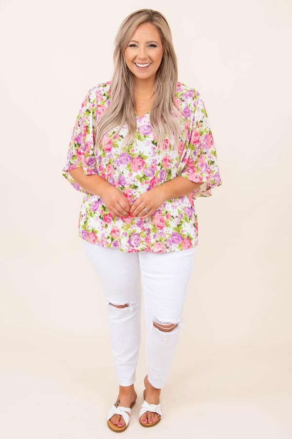top, casual, ivory, pink, purple, floral, white, flutter sleeve