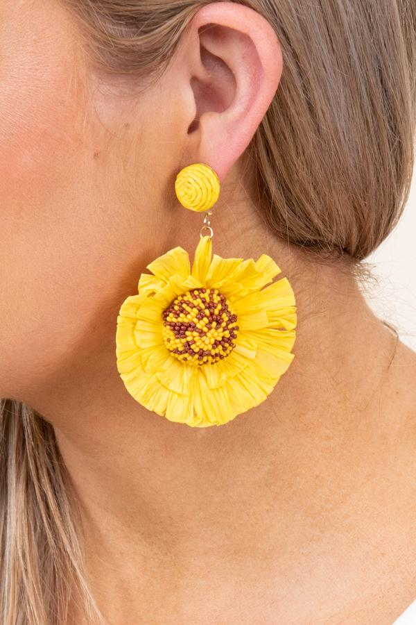 accessory, earrings, dangle, yellow, floral