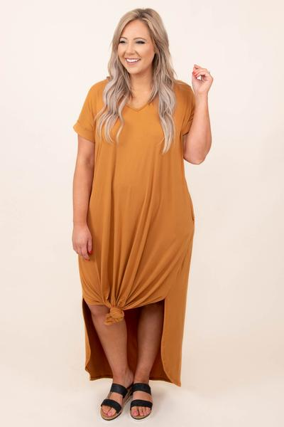 dress, maxi dress, clay, solid, short sleeve, comfy, soft
