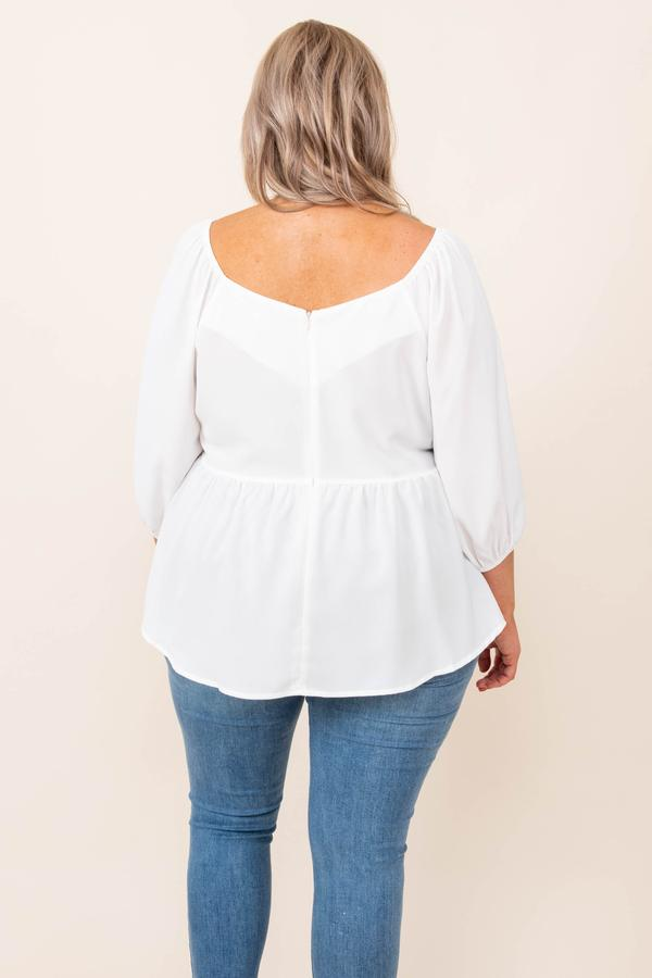 top, casual, babydoll, white, solid, bubble sleeve, ivory, flowy